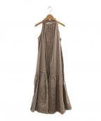 HER LIP TO(ハーリップトゥ)の古着「レーストリムベルトドレスワンピース」|ベージュ