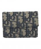 Dior(ディオール)の古着「オブリークジャガード3つ折り財布」 ベージュ×ブラック