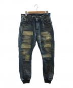 glamb(グラム)の古着「パッチワークデニムジョガーパンツ」|インディゴ