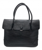 PELLE MORBIDA(ペッレモルビダ)の古着「クロコ型押しレザートートバッグ」 ブラック
