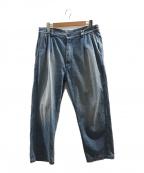 orSlow(オアスロウ)の古着「2タックワイドトラウザーデニムパンツ」|インディゴ