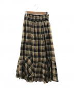 HER LIP TO(ハーリップトゥ)の古着「コットンブレンドボイルマキシスカート」|ブラウン×ブラック