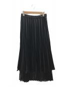 ()の古着「メッシュドッキングオリガミプリーツスカート」 ブラック