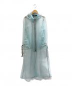SHIROMA(シロマ)の古着「オーガンジーフーデッドコート」|ブルー