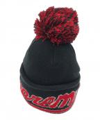 SUPREME×NEWERA(シュプリーム ×ニューエラ)の古着「スクリプトロゴニット帽」|ブラック×レッド