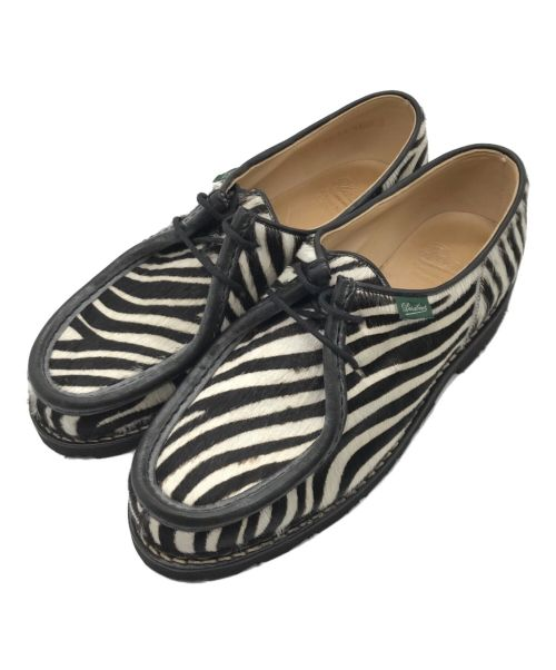 PARABOOT(パラブーツ)PARABOOT (パラブーツ) ミカエルゼブラ柄ハラコチロリアンシューズ ホワイト×ブラック サイズ:42の古着・服飾アイテム