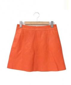 Marc by Marc Jacobs(マークバイマークジェイコブス)の古着「カラーラムレザースカート」|オレンジ