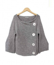 mina perhonen(ミナペルホネン)の古着「アルパカ混ニットジャケット」|グレー