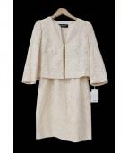 LAPINE BLANCHE(ラピーヌブランシュ)の古着「ノーカラーレースフォーマルセットアップ」|オフホワイト