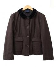 ASPESI(アスペジ)の古着「ベロアラウンドカラー中綿ジャケット」|ブラウン