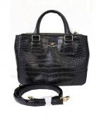 Samantha Thavasa Deluxe(サマンサタバサデラックス)の古着「型押しレザー2wayバッグ」|ブラック
