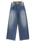 SERGE de bleu(サージ)の古着「サイドラインバギーワイドデニム」|インディゴ