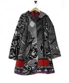 Desigual(デシグアル)の古着「総柄ジャガードジップアップコート」|ブラック×ホワイト