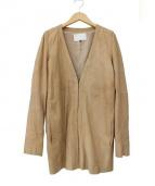 ENCHANTEMENT...?(アンシャントマン)の古着「ノーカラーゴートレザージャケット」|ブラウン