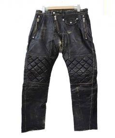 DSQUARED2(ディースクエアード)の古着「クラック加工レザーバイカーパンツ」|ブラック