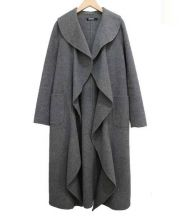 DKNY(ダナキャラン ニューヨーク)の古着「ラウンドエッジフロントオープンコート」|グレー
