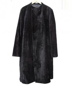 EMPORIO ARMANI(エンポリオアルマーニ)の古着「コーティング加工ノーカラーダブルコート」|ブラック