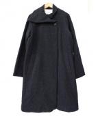quadro(クオドロ)の古着「1ボタンアシンメトリーウールロングコート」|グレー