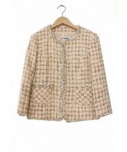 EL MIDAS(エルミダ)の古着「ノーカラーツイードジャケット」 ピンク
