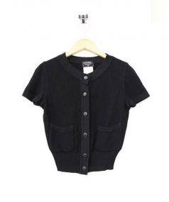 VINTAGE CHANEL(ヴィンテージシャネル)の古着「ココマークボタン半袖カーディガン」 ブラック