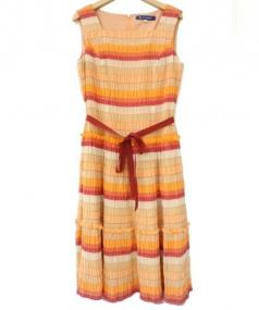 MS GRACY(エムズグレイシー)の古着「プリーツ加工ワンピース」|オレンジ