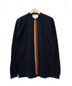 Paul Smith(ポールスミス)の古着「コントラストラインカットソーシャツ」|ネイビー