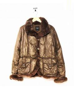 MAX MARA WEEK END LINE(マックスマーラウィークエンドライン)の古着「毛皮切替ダウンジャケット」|ブラウン