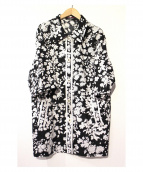 LEONARD(レオナール)の古着「フラワープリントリネンシャツコート」 ブラック×ホワイト