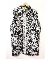LEONARD(レオナール)の古着「フラワープリントリネンシャツコート」|ブラック×ホワイト