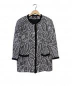LEONARD(レオナール)の古着「ジャガードニットノーカラーコート」|ブラック