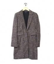JOSEPH(ジョゼフ)の古着「ミックススイード1ボタンチェスターコート」|ブラウン