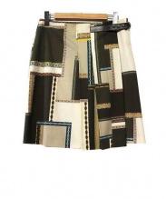 ETRO(エトロ)の古着「パッチワークプリントラップスカート」|カーキ