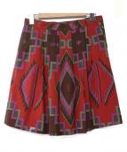 ETRO(エトロ)の古着「ネイティブ柄タックプリーツスカート」|パープル