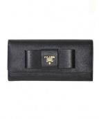 PRADA(プラダ)の古着「長財布/リボンレザーロングウォレット」|ブラック