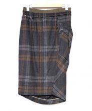 BRUNELLO CUCINELLI(ブルネロクチネリ)の古着「ラッフルデザインチェックミディスカート」|グレー