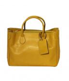 Accessoires De Mademoiselle(アクセソワドゥマドモアゼル)の古着「サイドロゴハンドバッグ」|イエロー