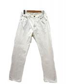 lucien pellat-finet(ルシアンペラフィネ)の古着「バックスカルロゴホワイトデニムパンツ」 ホワイト