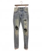 AMIRI(アミリ)の古着「クラッシュデニムパンツ」|ブルー