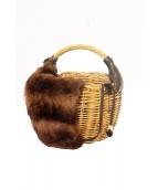 ebagos(エバゴス)の古着「ラビットファーかぶせカゴバッグ」 ブラウン