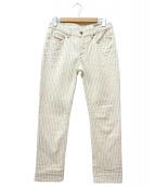 DIESEL(ディーゼル)の古着「シンチバックストライプパンツ」|ホワイト