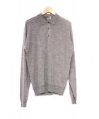 JOHN SMEDLEY(ジョンスメドレー)の古着「英国製ロングスリーブニットポロシャツ」 グレー