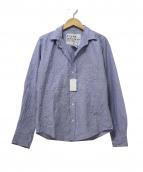 Frank & Eileen(フランクアンドアイリーン)の古着「プリーツ加工スキッパーシャツ」|ブルー