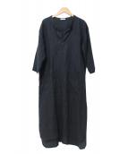 fog linen work(フォグリネンワーク)の古着「リトアニアリネンスキッパーワンピース」|ブラック