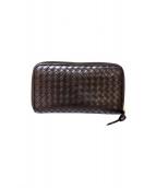BOTTEGA VENETA(ボッテガヴェネタ)の古着「イントレチャートラウンドジップ長財布」|ブラウン