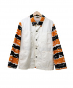 TENDERLOIN(テンダーロイン)の古着「タイガーカモ切替カバーオール」 ホワイト×オレンジ