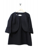 courreges(クレージュ)の古着「ノーカラーティアードセットアップ/スーツ」|ブラック
