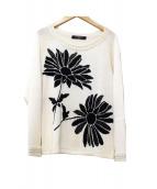 LEONARD FASHION(レオナールファッション)の古着「フラワー編み柄コットンシルクニット」