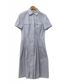 Paul Stuart(ポールスチュアート)の古着「ストライプシャツワンピース」|ライトブルー