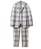 BOGLIOLI(ボリオリ)の古着「チェック柄セットアップ3ボタンスーツ」|ホワイト
