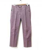 PT01(ピーティーゼロウーノ)の古着「ギンガムチェックセンタープレススラックスパンツ」|ブラウン